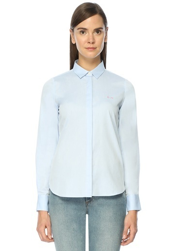 Maison İngiliz Yaka Uzun Kollu Gömlek Mavi
